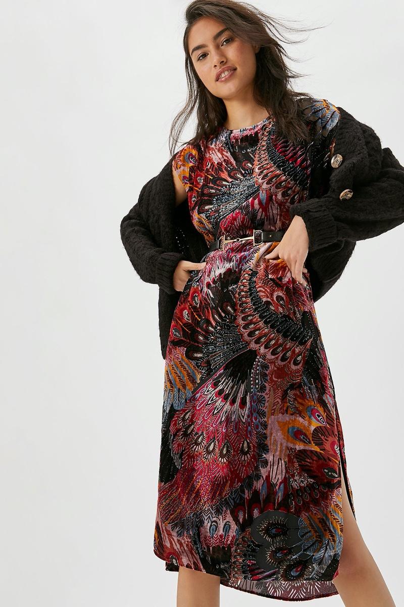Daniel Rainn Agostina Velvet Burnout Tunic Dress $158