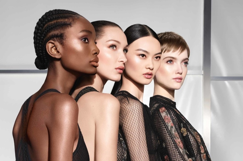 Imari Karanja, Bella Hadid, He Cong, and Ruth Bell star in Dior Backstage Holiday Glow 2020 campaign.