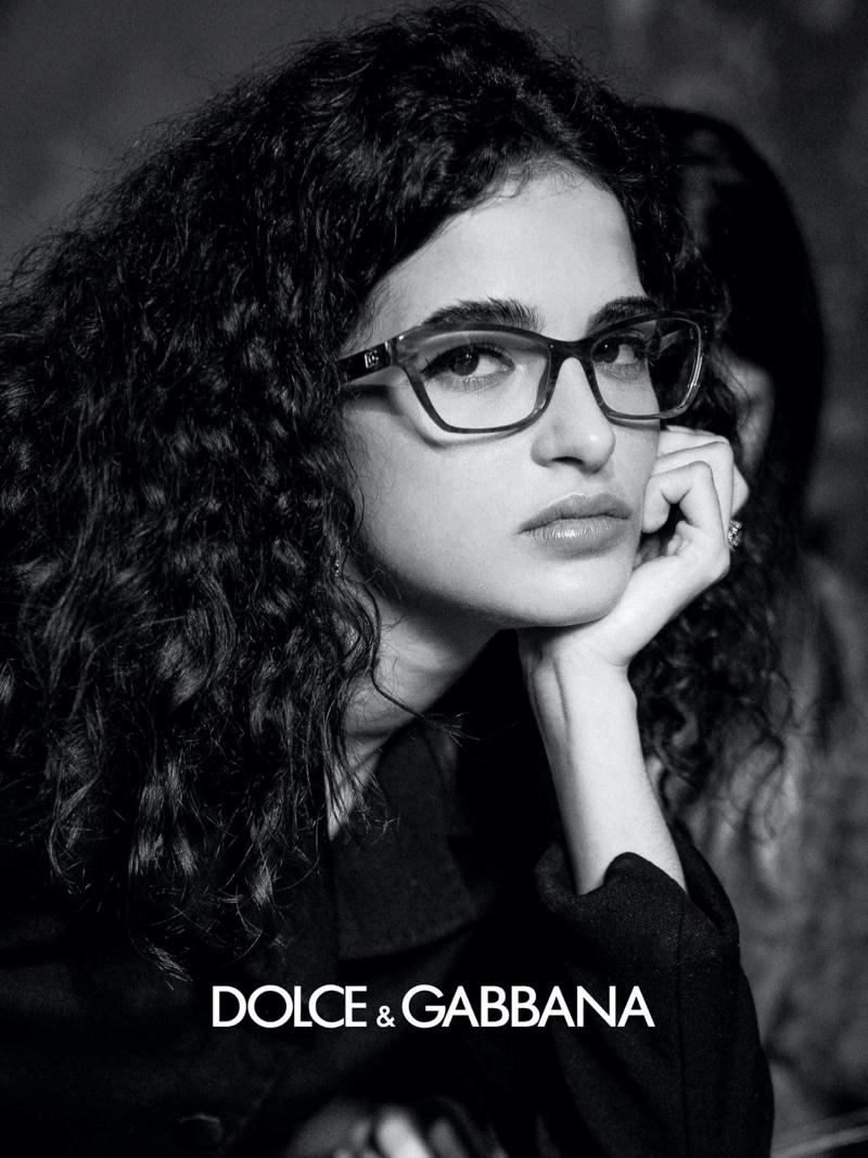 Model Chiara Scelsi appears in Dolce & Gabbana eyewear fall-winter 2020 campaign.