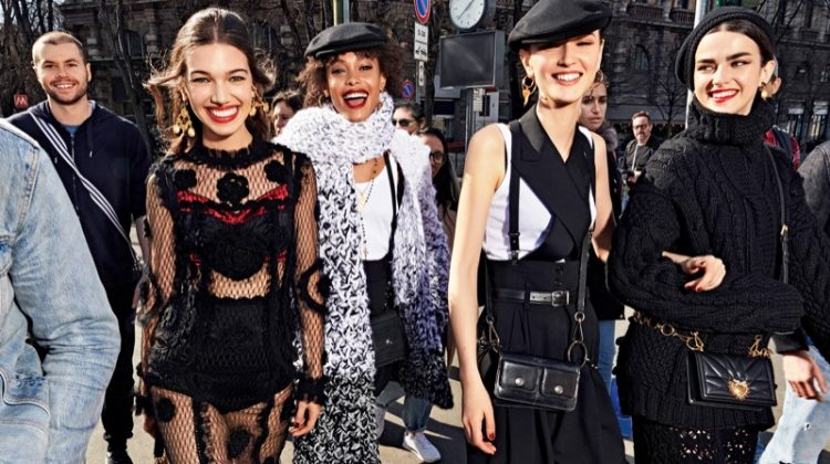 Models pose in Milan for Dolce & Gabbana fall 2020 campaign.
