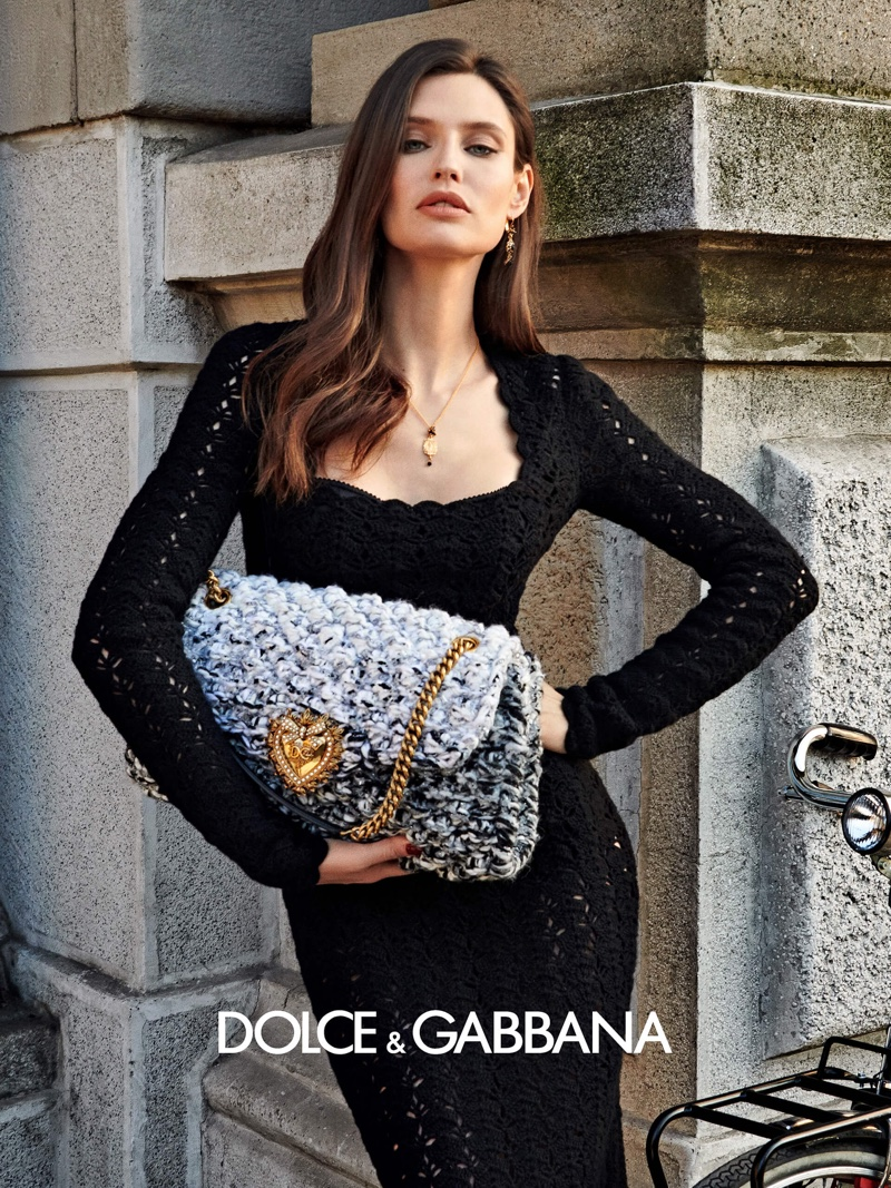 Bianca Balti poses for Dolce & Gabbana fall 2020 campaign.