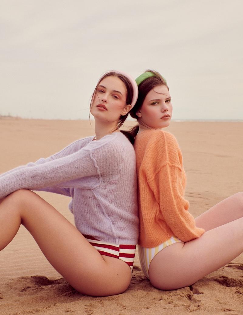 Pia & Nika Embrace Beach Pastels for ELLE Greece