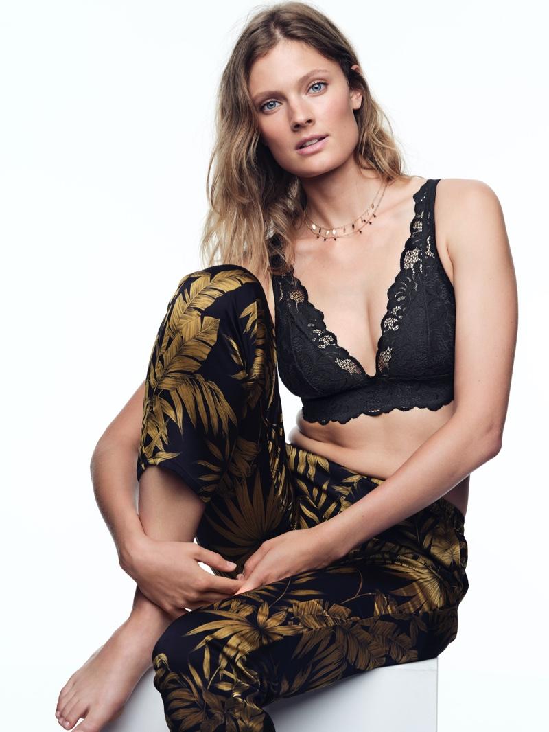 Model Constance Jablonski poses for Etam lingerie fall-winter 220 campaign.