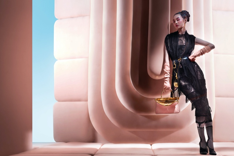 Maggie Cheng poses for Fendi fall-winter 2020 campaign.