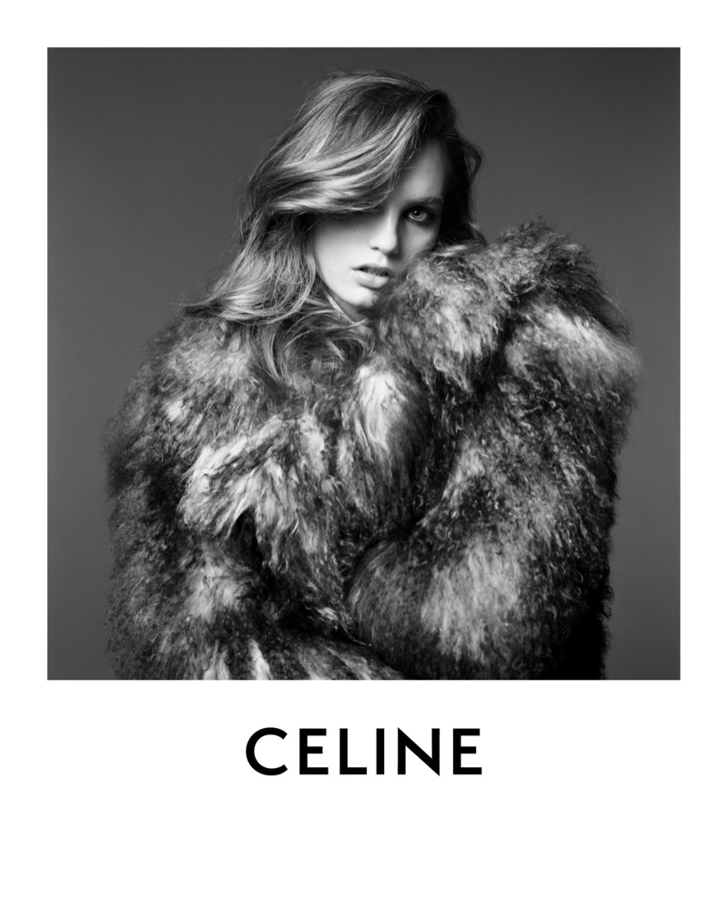 Fran Summers poses for Celine winter 2020 part 2 campaign.