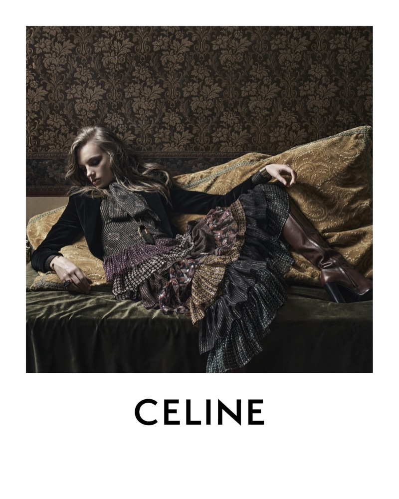 Fran Summers Gets Glam for Celine Winter 2020 Campaign
