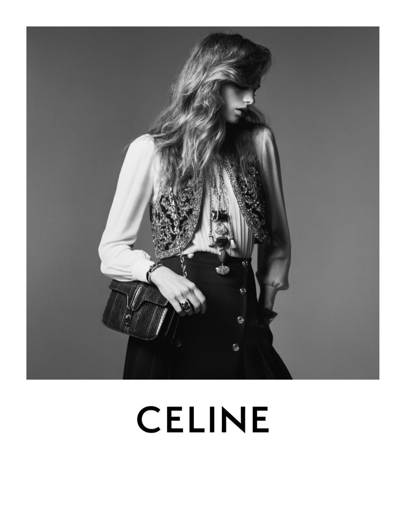 Model Fran Summers channels boho vibes in Celine winter 2020 campaign - part 2.