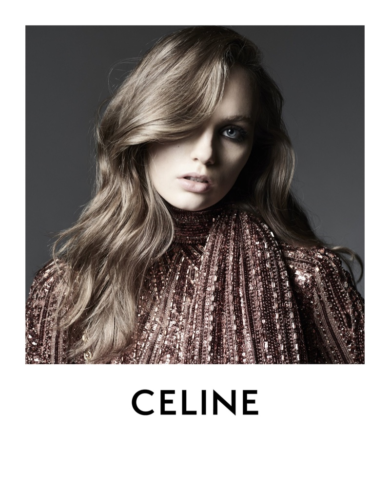 Shining in sequins, Fran Summers fronts Celine winter 2020 campaign - part 2.