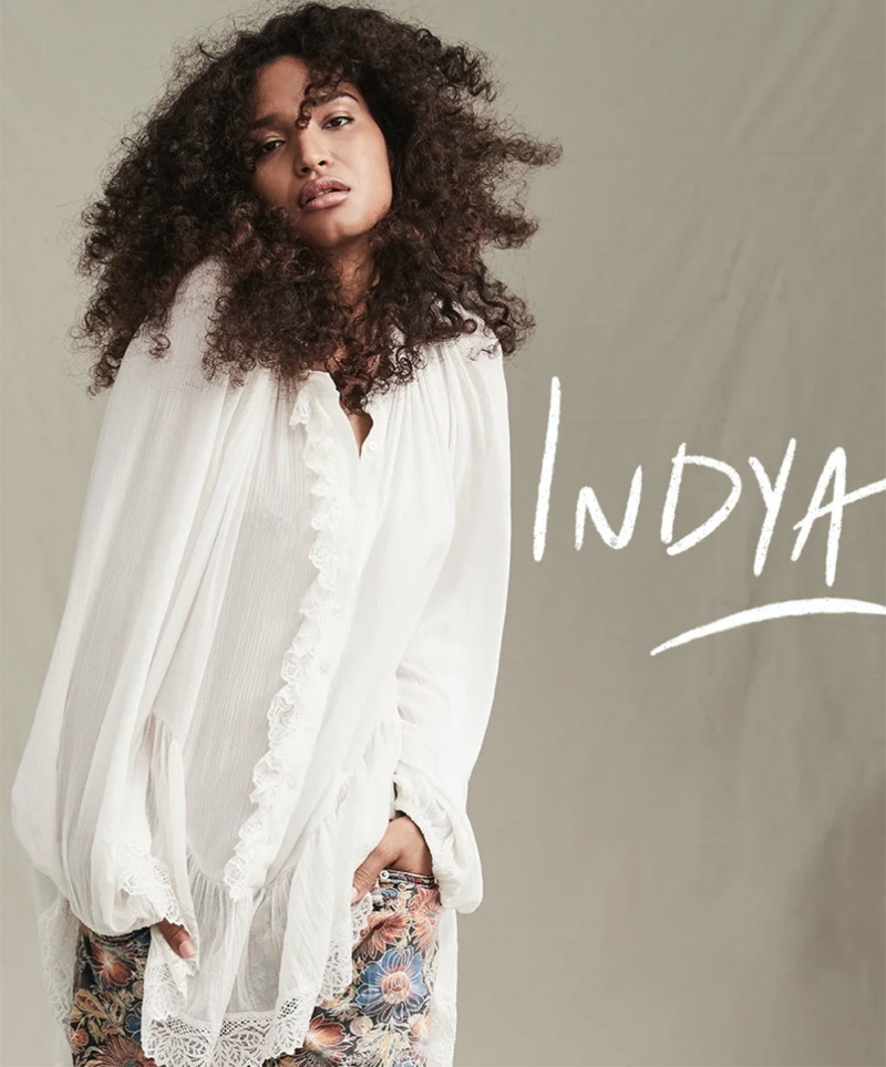 Indya Moore appears in Free People The Creative Spirit fall 2020 catalog.
