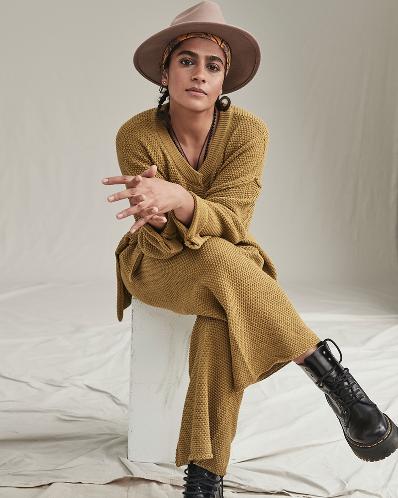 Madame Gandhi appears in Free People The Creative Spirit fall 2020 catalog.