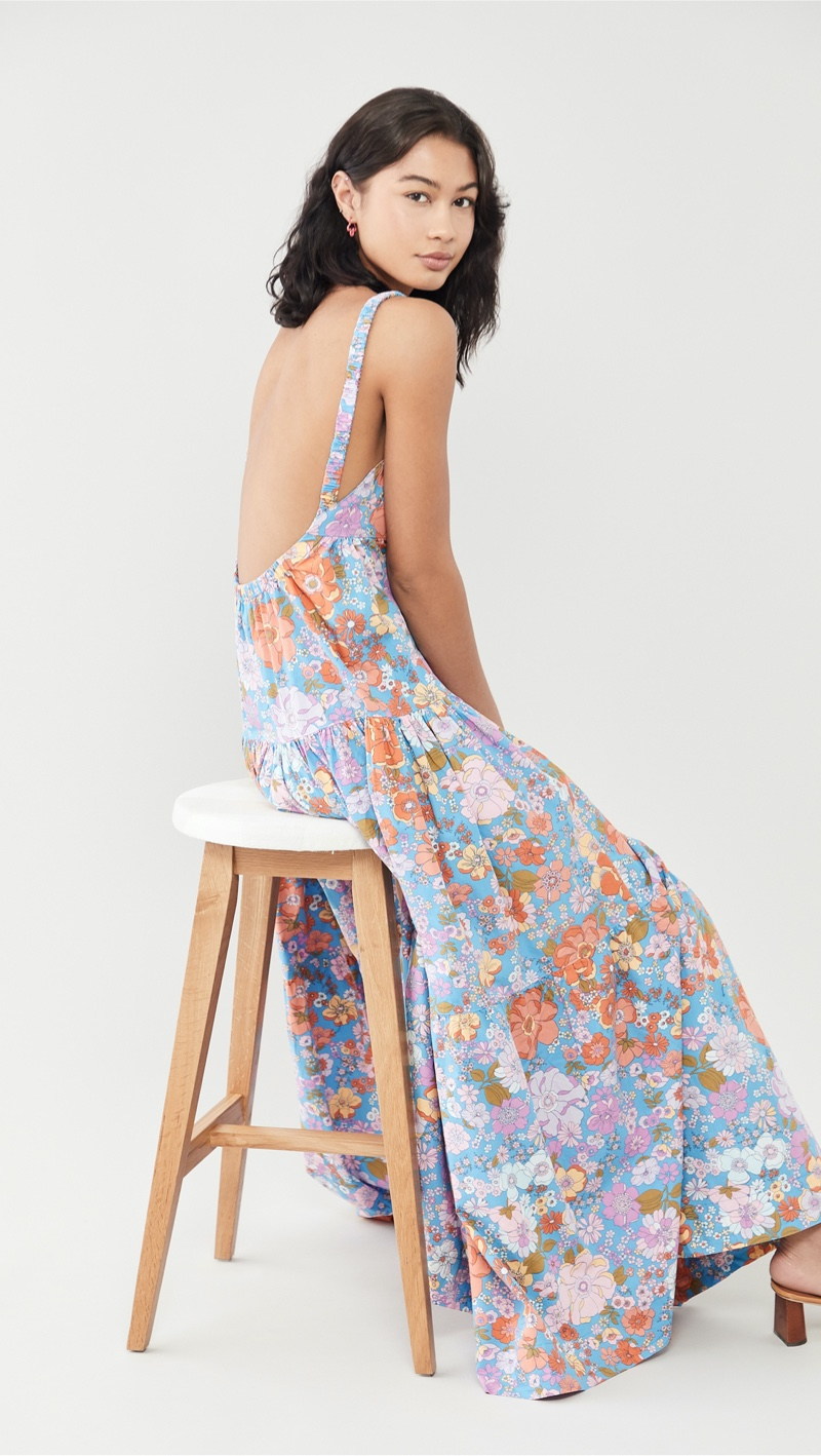 Free People Park Slope Maxi Dress in Bluebell Combo $148