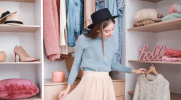 Girl Choosing Clothes Fashionable Closet Style