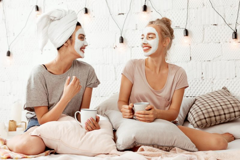 Girlfriends Wearing Face Masks
