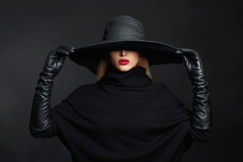 Glam Model Wide Brimmed Hat Leather Gloves High Neckline Covered Eyes