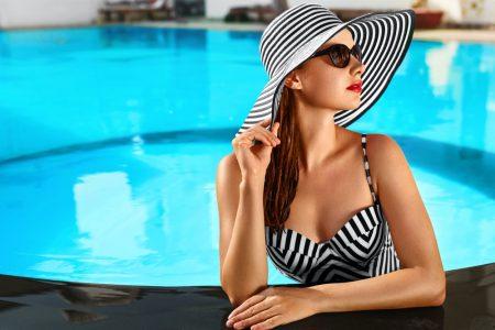 Glamorous Woman in Pool