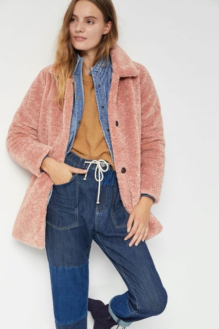 Greylin Aislinn Sherpa Coat in Peach $178