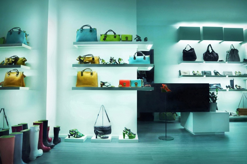 Interior Fashion Store Bags Shoes Display