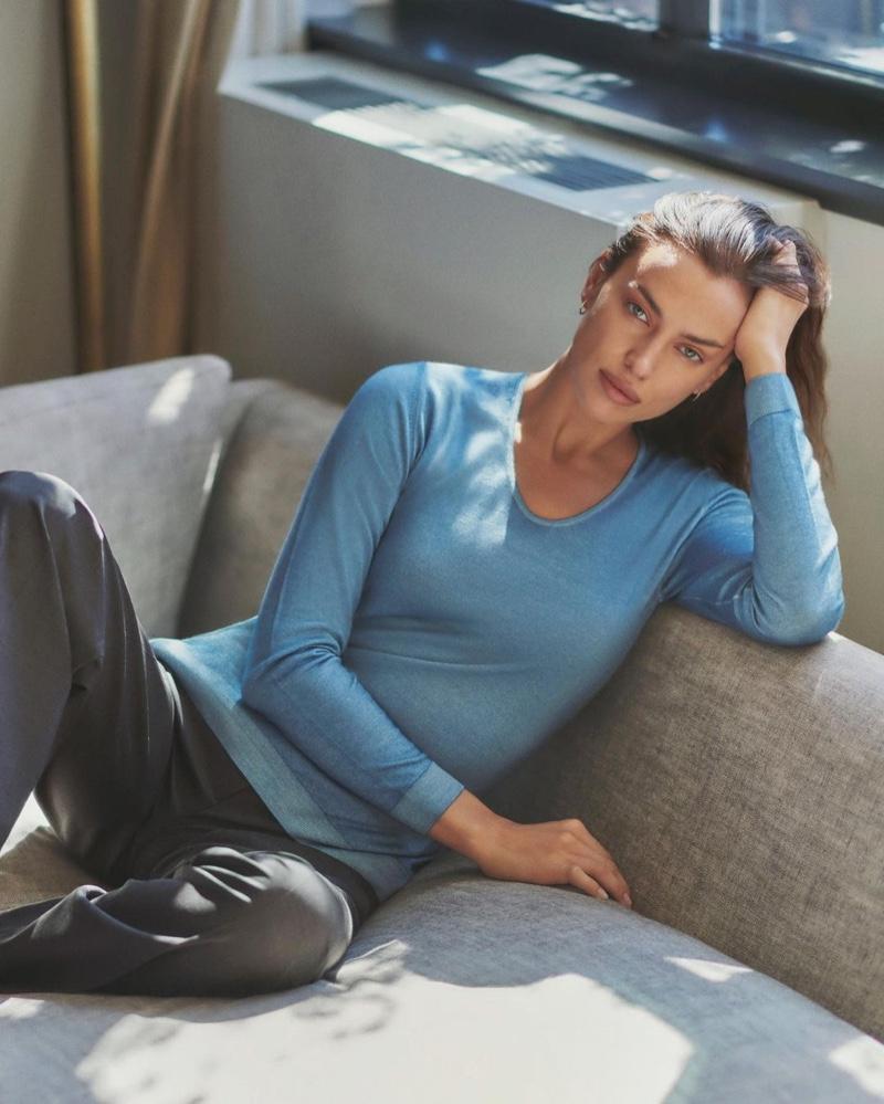 Irina Shayk stars in Falconeri Ultralight Cashmere campaign.