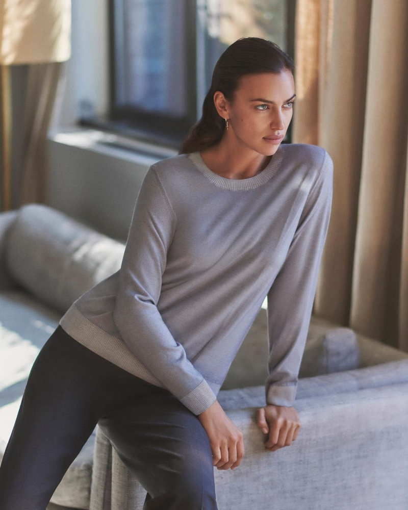 Supermodel Irina Shayk fronts Falconeri Ultralight Cashmere campaign.