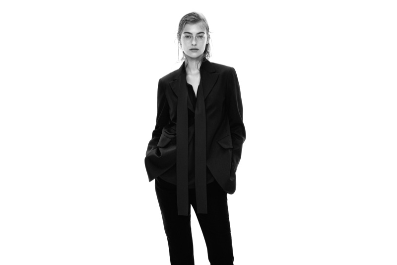 Suiting up, Berit Heitmann poses for Uniqlo +J fall-winter 2020 campaign.