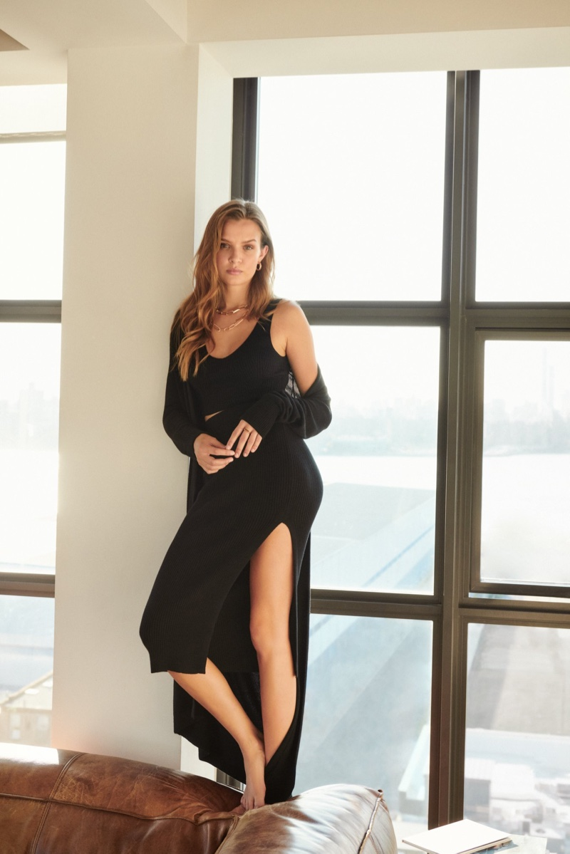 Josephine Skriver wears an all-black look in Dynamite fall 2020 campaign.