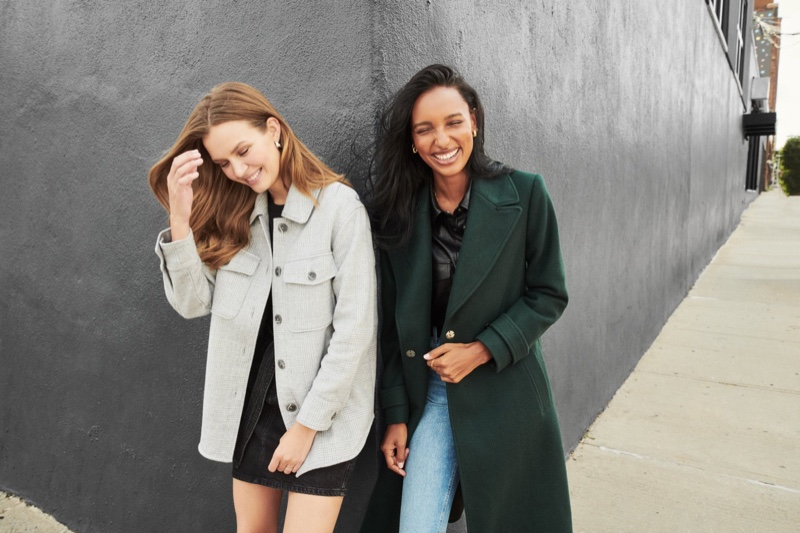 Models Josephine Skriver and Jasmine Tookes wear outerwear in Dynamite fall 2020 campaign.