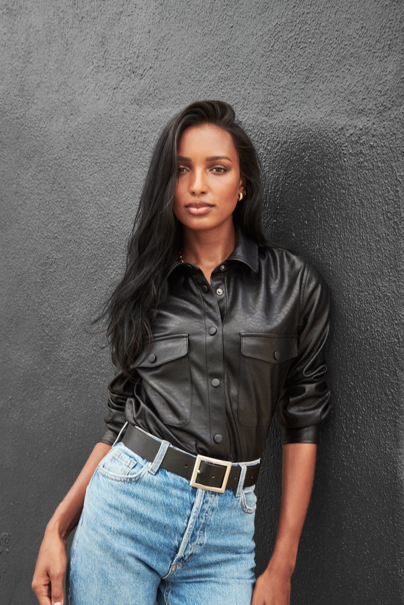Jasmine Tookes sports faux leather for Dynamite fall 2020 campaign.