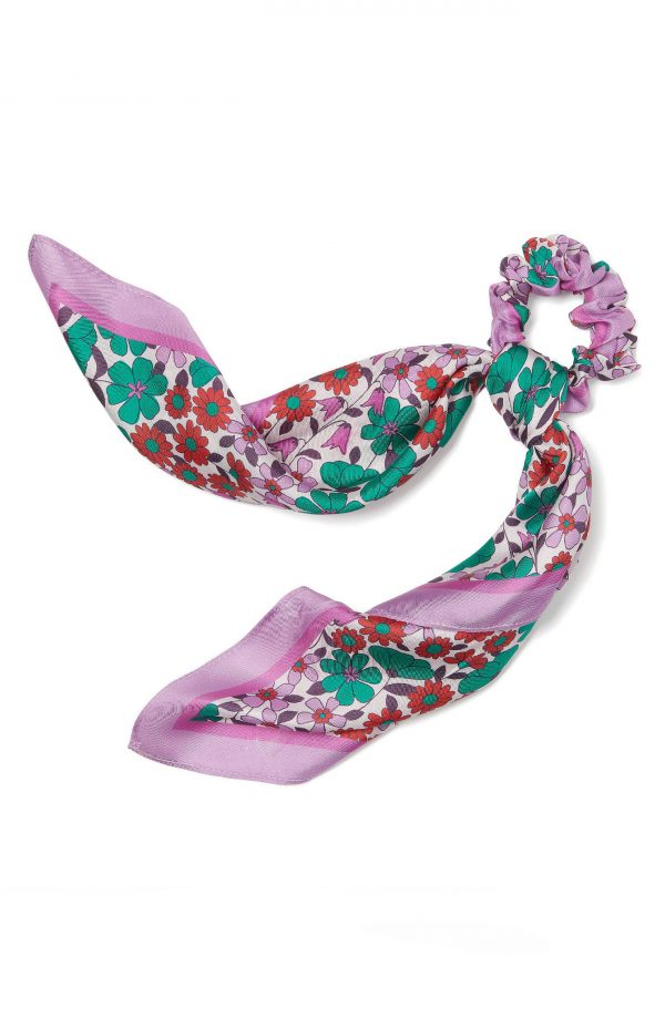 Kate Spade New York Floral Medley Silk Twill Hair Tie, Size One Size - Pink
