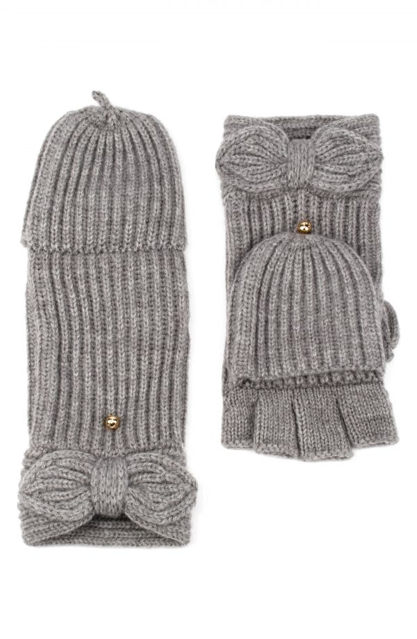 Kate Spade New York Pointy Bow Pop Top Mittens, Size One Size - Grey