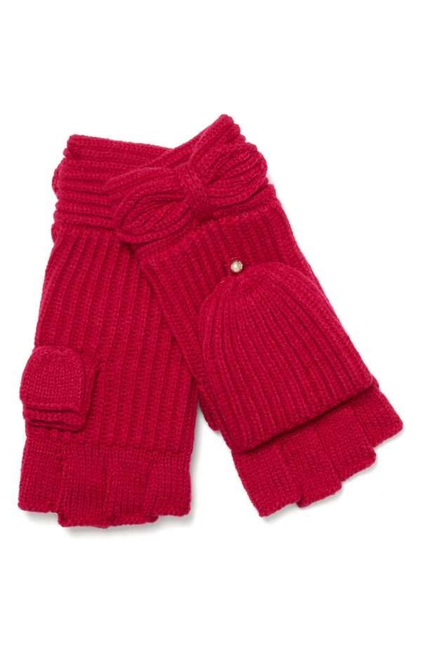Kate Spade New York Pointy Bow Pop Top Mittens, Size One Size - Pink