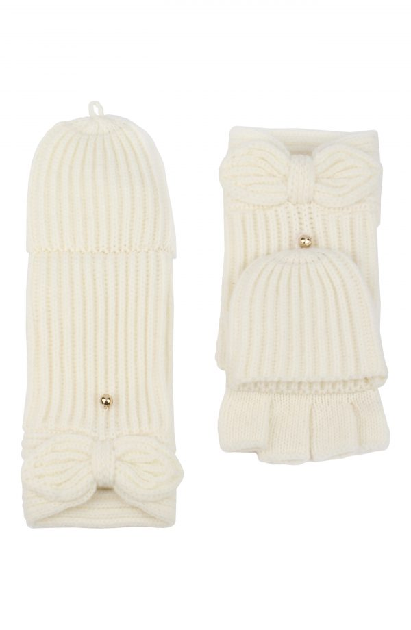Kate Spade New York Pointy Bow Pop Top Mittens, Size One Size - White