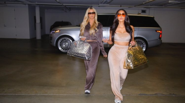 Paris Hilton and Kim Kardashian star in SKIMS Velour campaign.