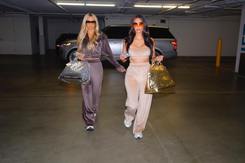 SKIMS unveils Velour collection worn by Kim Kardashian and Paris Hilton.