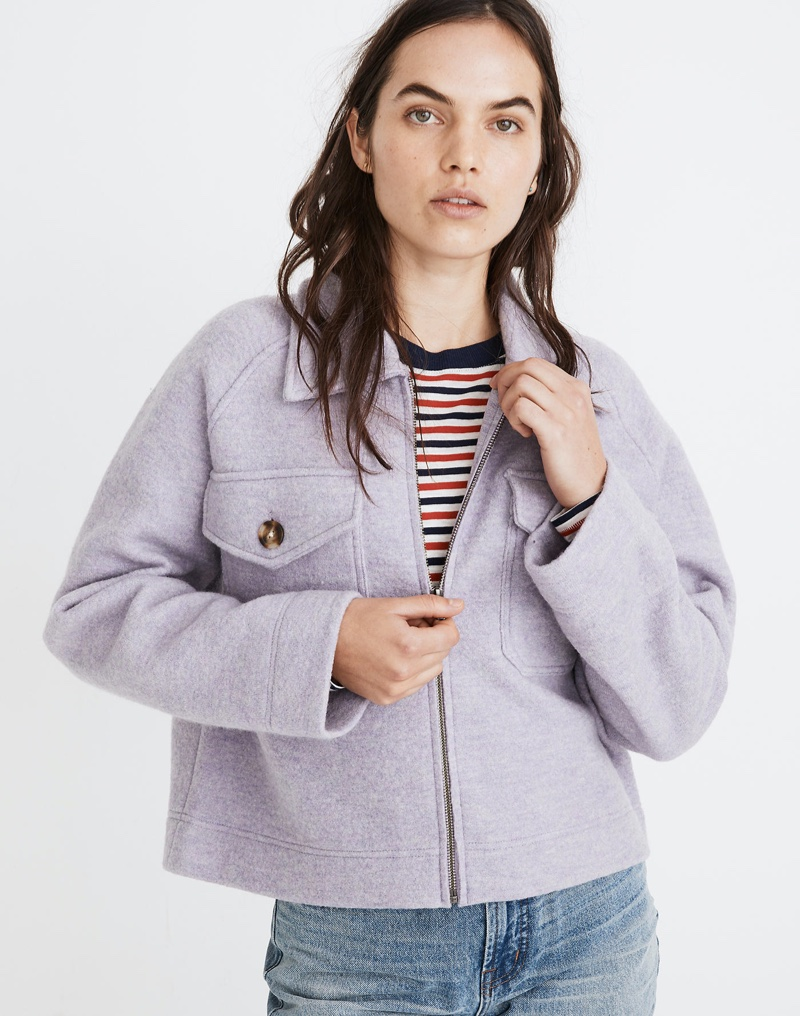 Madewell Johnsville Sweater Jacket in Heather Iris $168
