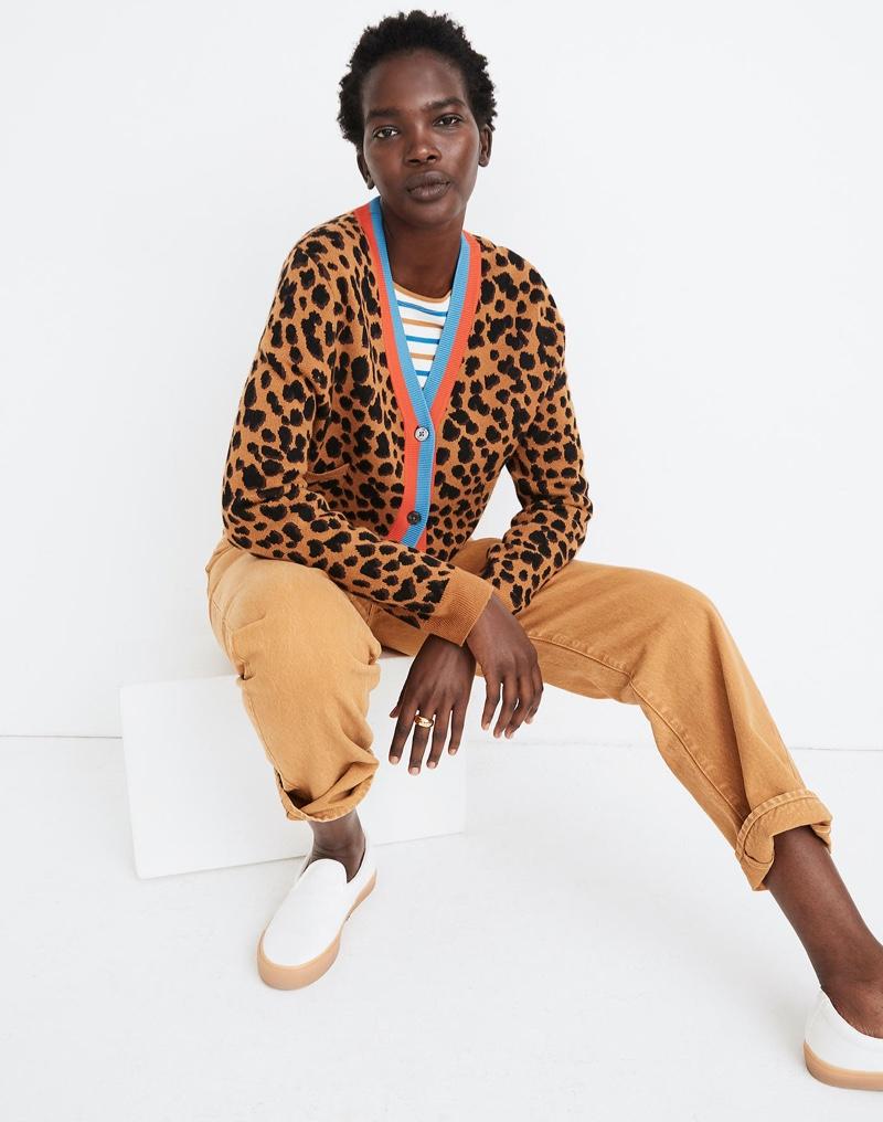 Madewell x Kule Leopard Sinclair Crop Cardigan Sweater $248
