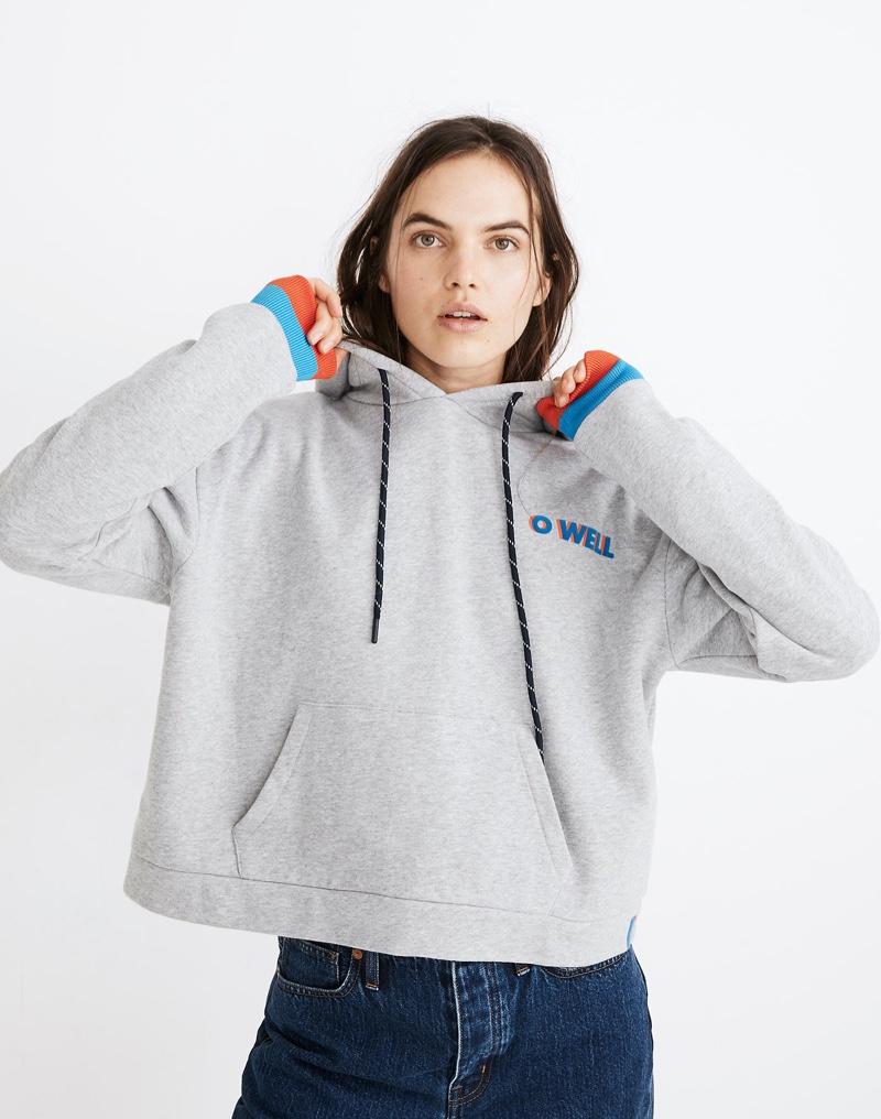 Madewell x Kule O Well Graphic Cropped Hoodie Sweatshirt $168