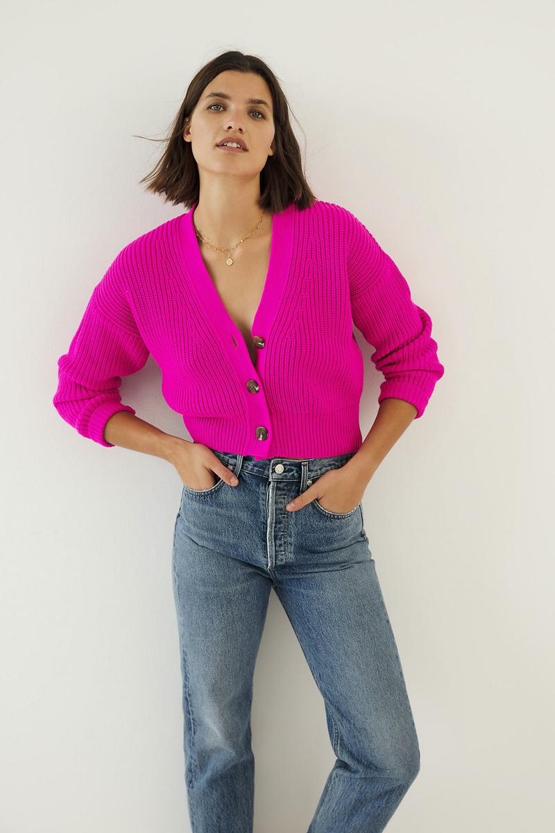 Maeve Sunny Cropped Cardigan in Medium Pink $98