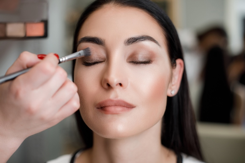 Makeup Artist Applying Makeup Woman Eyeshadow
