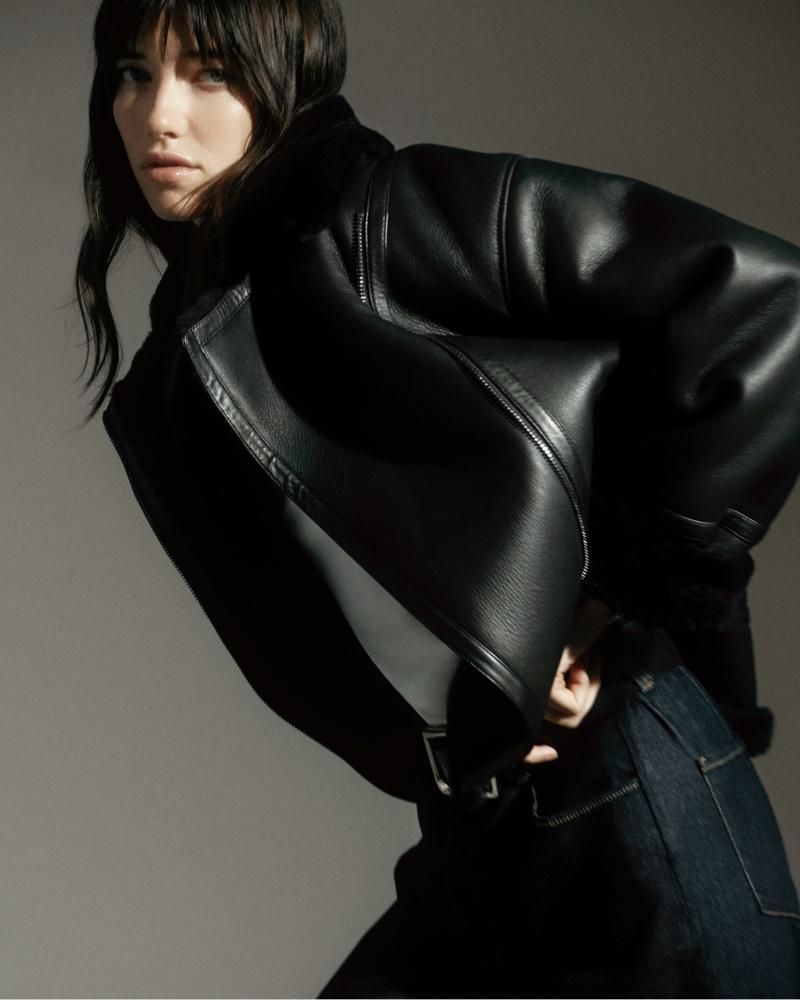 Massimo Dutti Mouton Leather Biker Jacket.