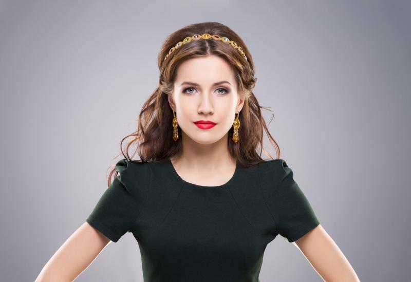 Model Bejeweled Headband Earrings Elegant Look
