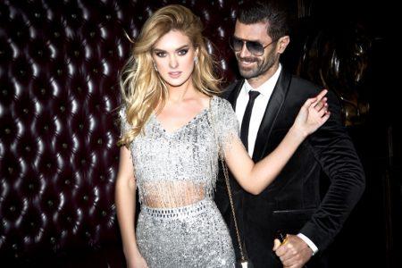 Model Couple Silver Dress Man Suit Stylish