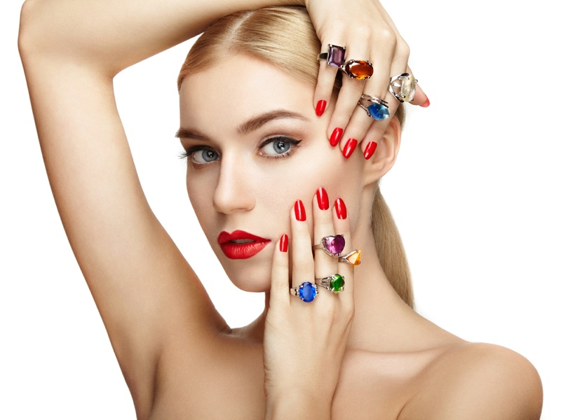 Model Multicolored Rings Jewelry Gems