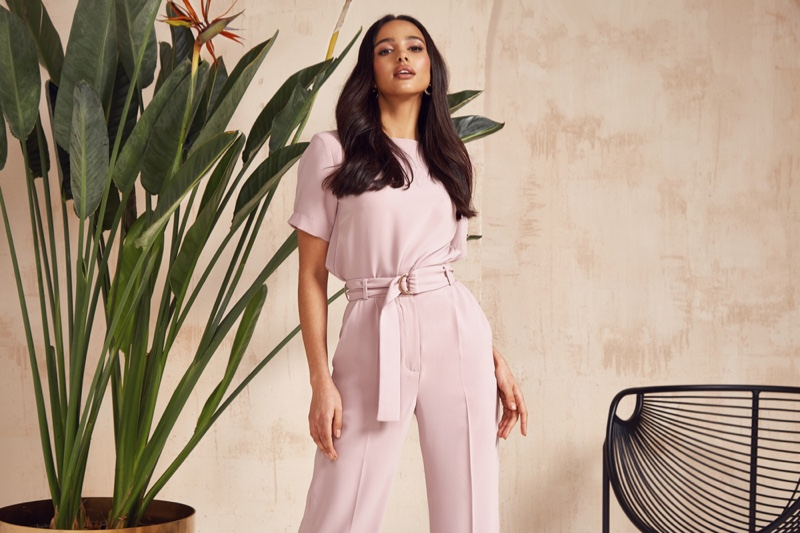Model Pink Top Pants Outfit Plant Background