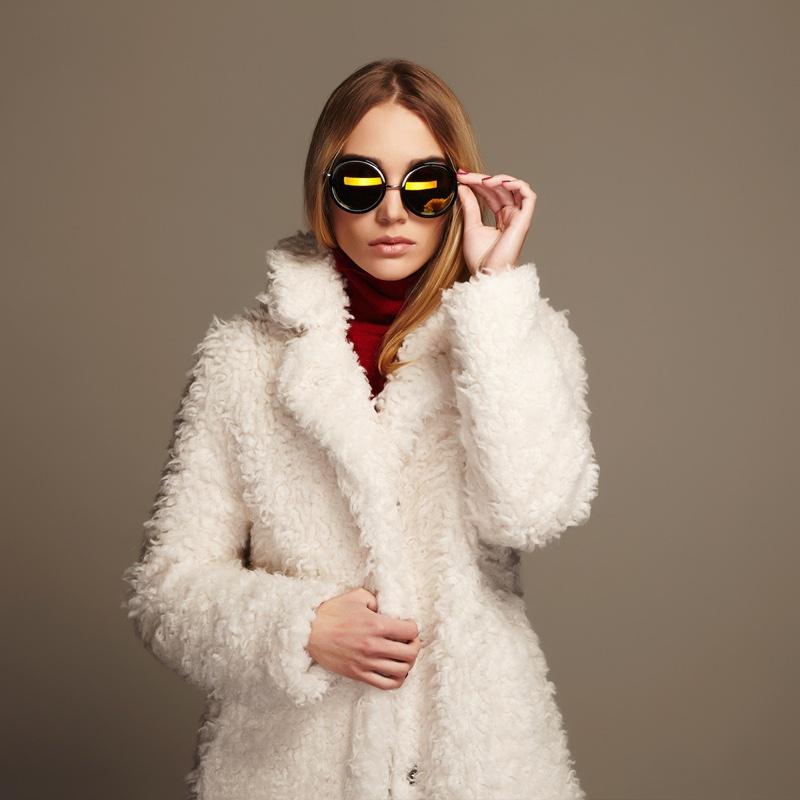Model White Faux Fur Coat Sunglasses