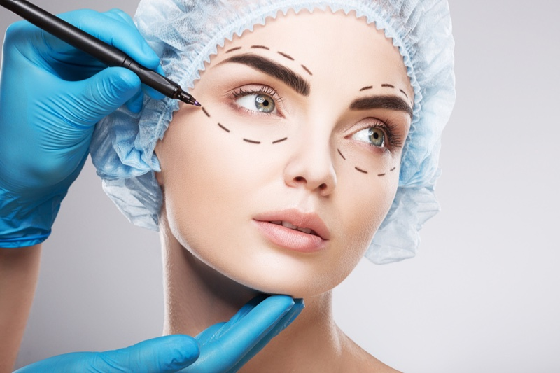 Plastic Surgery Eyes Beauty Concept Lines Drawn Gloved Hands