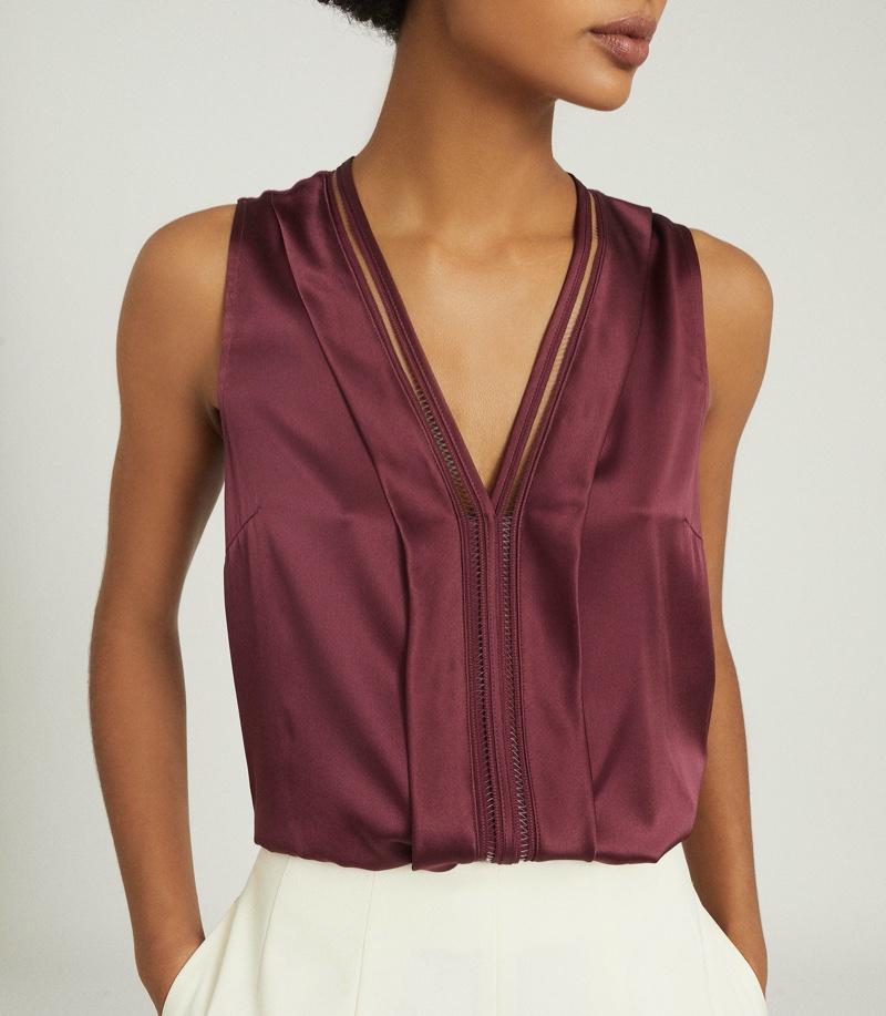 REISS Chelsea Silk Blend V-Neck Top $195
