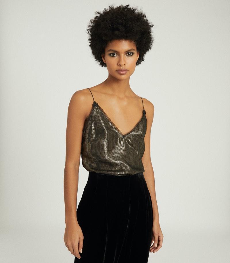 REISS Elianna Metallic Lace-Trim Cami $245