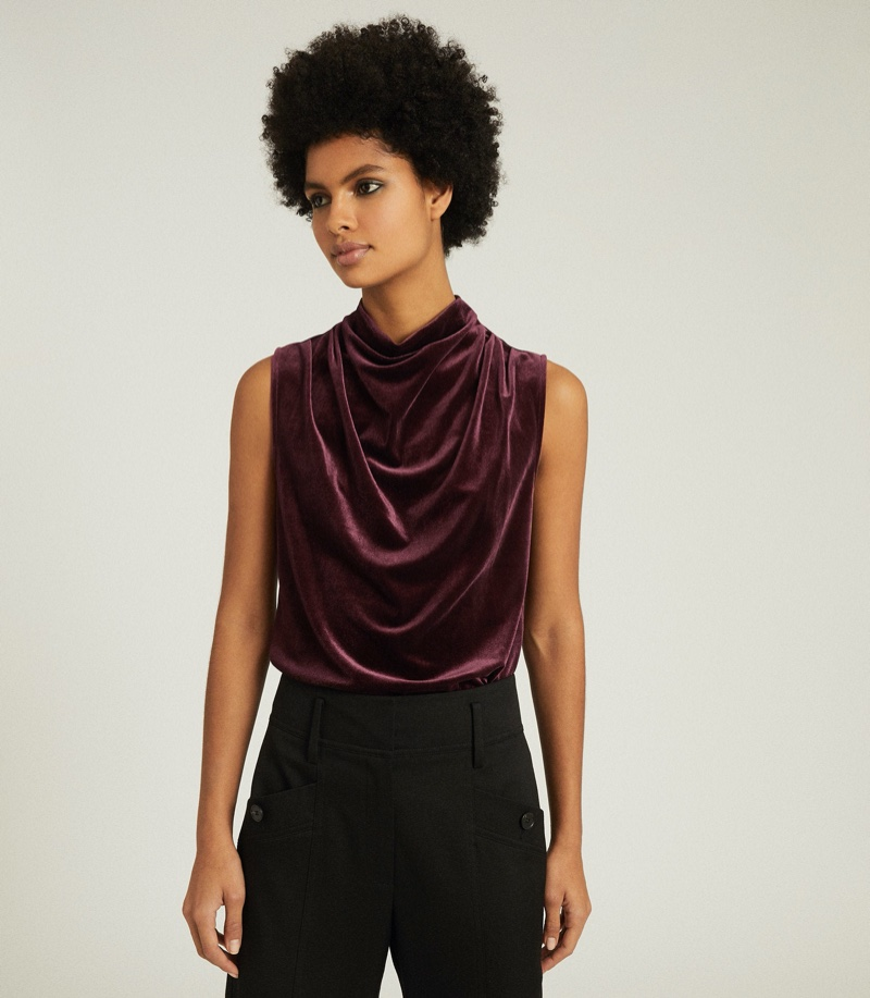 REISS Lola High Neck Sleeveless Top in Berry $145