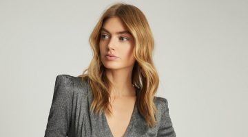 REISS Rosie Long Sleeved Metallic Bodysuit $180
