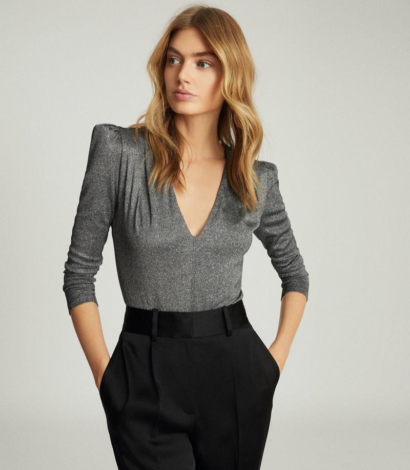 REISS Rosie Long Sleeved Metallic Bodysuit $180